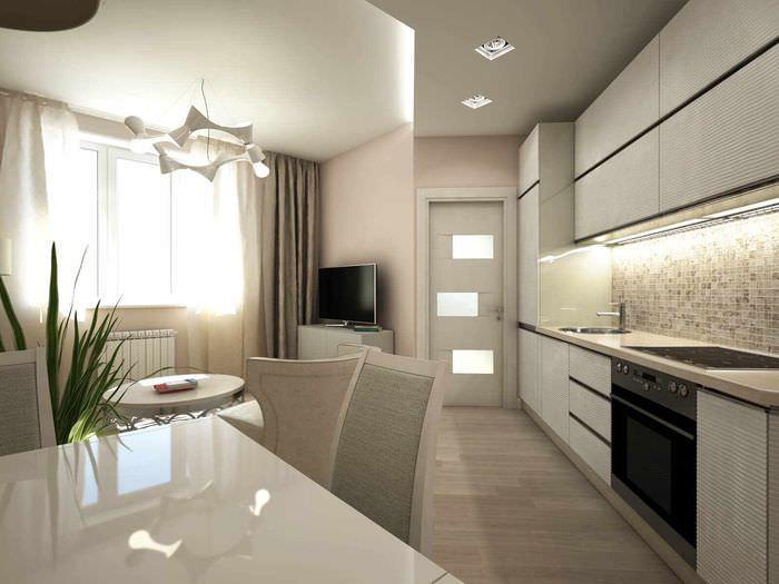 вариант светлого дизайна потолка на кухне
