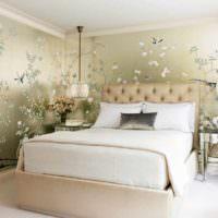 вариант яркого оформления декора стен в спальне фото