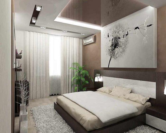 вариант яркого проекта интерьера спальни