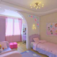 пример светлого интерьера спальни для девочки картинка