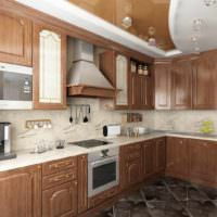 пример светлого интерьера потолка кухни картинка