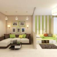 пример необычного стиля гостиной 20 метров фото