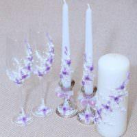 идея необычного украшения декора свадебных бокалов фото