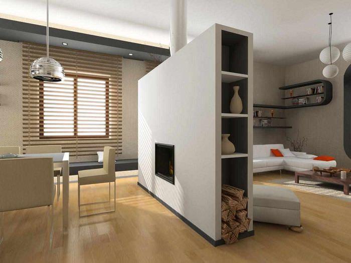 вариант применения перегородки в интерьере комнаты