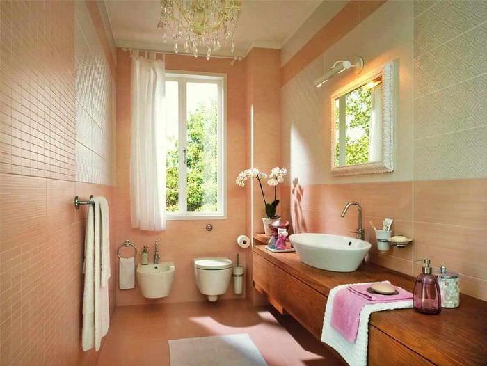идея сочетания необычного персикового цвета в дизайне квартиры