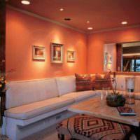пример сочетания необычного персикового цвета в стиле квартиры картинка
