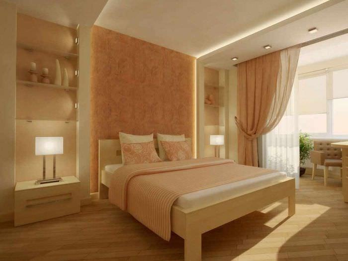 пример сочетания светлого персикового цвета в интерьере квартиры
