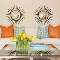 пример сочетания красивого персикового цвета в интерьере квартиры картинка