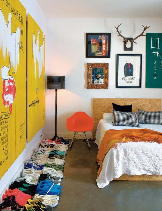 идея светлого декора комнаты в стиле поп арт