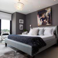 пример красивого оформления стиля стен в спальне картинка