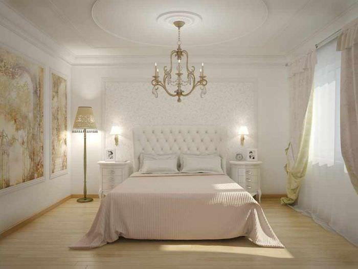 пример красивого оформления стиля стен в спальне
