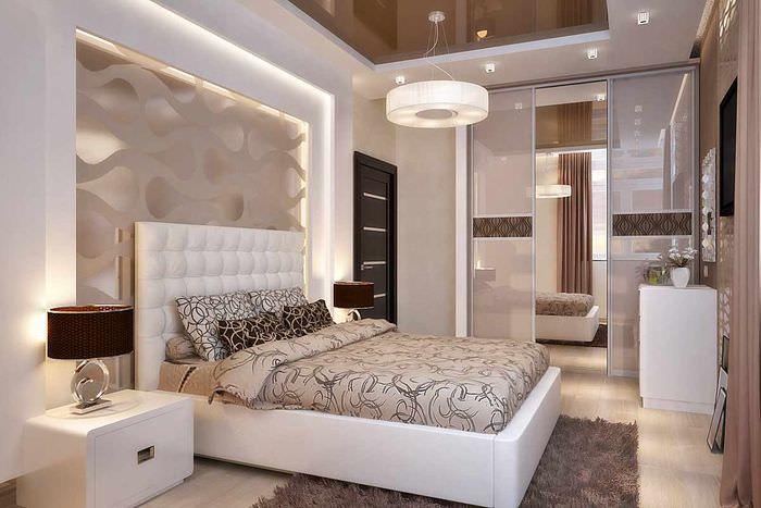 пример светлого проекта стиля спальной комнаты