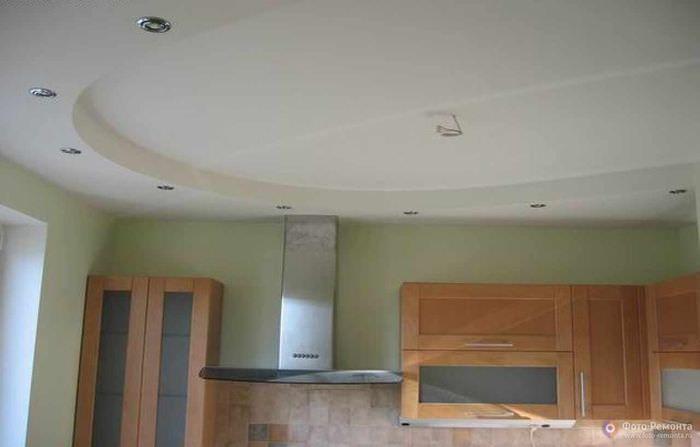 пример необычного дизайна потолка на кухне