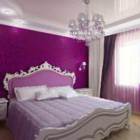 идея яркого оформления дизайна стен в спальне картинка