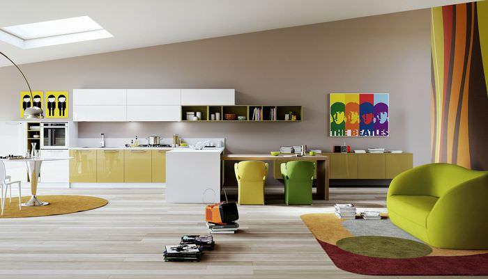 идея яркого дизайна комнаты в стиле поп арт