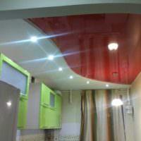 вариант яркого дизайна потолка кухни фото