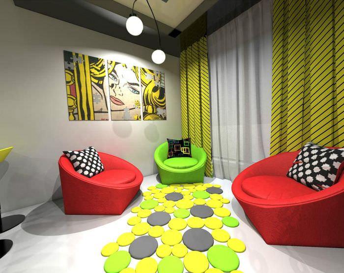 пример красивого декора квартиры в стиле поп арт