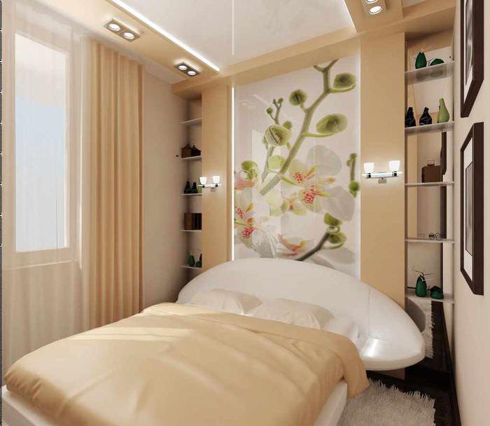идея красивого оформления стиля стен в спальне