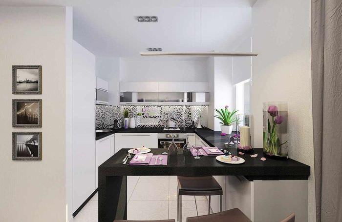 вариант яркого проекта стиля кухни