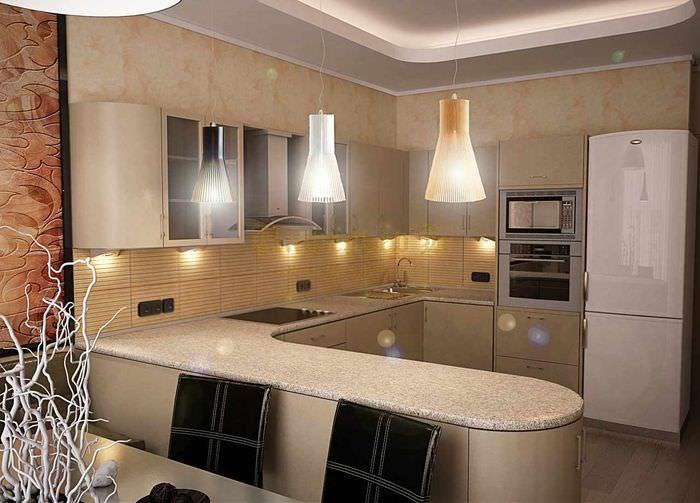 пример светлого проекта интерьера кухни