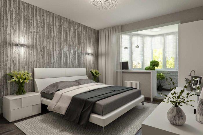 вариант необычного проекта стиля спальной комнаты