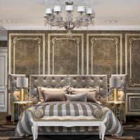 пример светлого украшения дизайна стен в спальне фото
