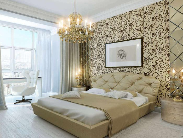 вариант светлого украшения декора стен в спальне