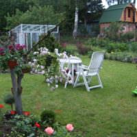 Садовые кресла на зеленом газоне