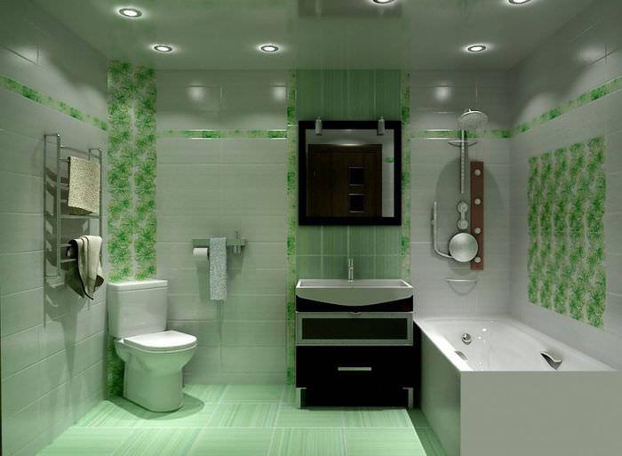 Дизайн совмещенного санузла в светло-зеленых тонах