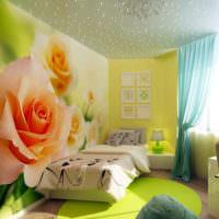 Реалистичные фотообои в интерьере спальни