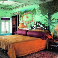 Яркие фотообои в дизайне спальни