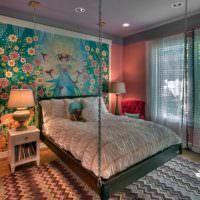 Сказочная спальня с фотообоями на стене