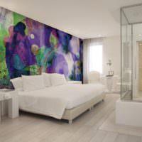 Размазанный рисунок на фотообоях в спальне