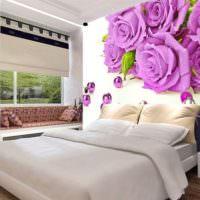 Реалистичные цветы на фотобоях спальни
