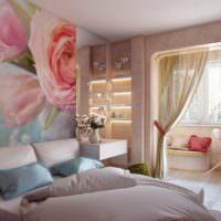 Нежно-розовые оттенки на фотообоях в спальне молодой девушки