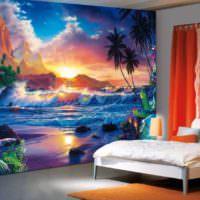 Фантастические мотивы на фотообоях спальни