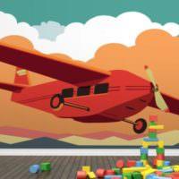 Принт с самолетом на стене детской спальни