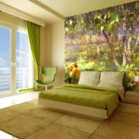 Природный пейзаж на фотообоях в спальне