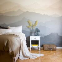 Спальня в стиле прованс с фотообоями на стене