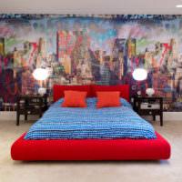 Абстрактные фотообои в спальне молодого человека