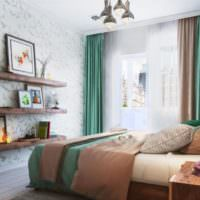 Темные контрастные цвета в интерьере спальни 12 кв м