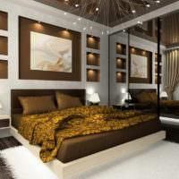 Оформление стены декоративными нишами в спальне 12 кв м