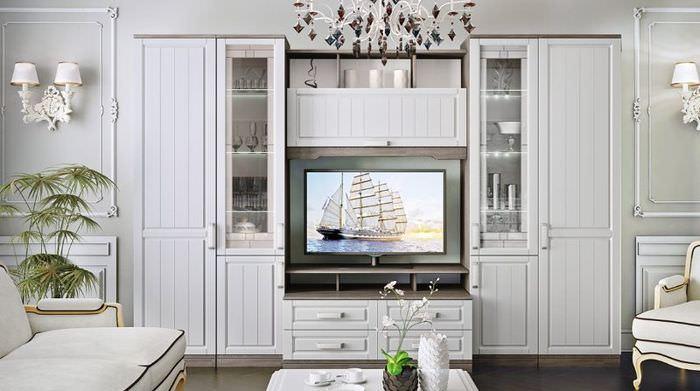 Мебельный гарнитур в стиле прованс в гостиной жилого дома