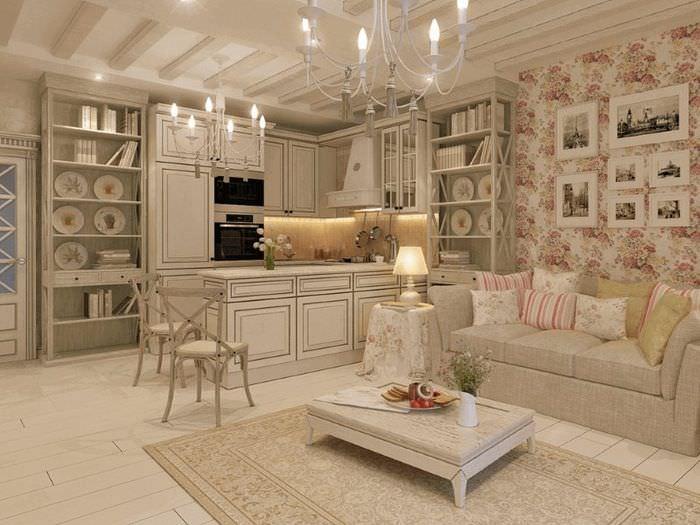 Люстры с лампами в виде свечей в интерьере комнаты в стиле прованс