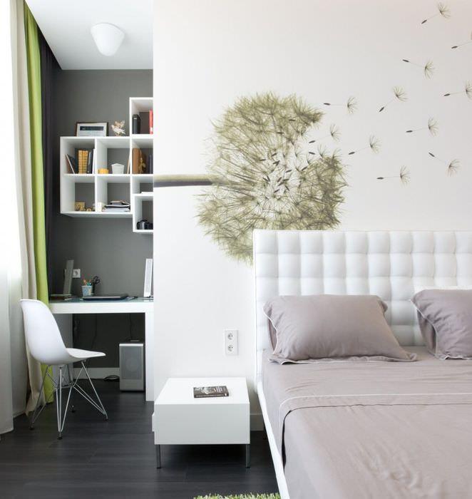 Фотообои с одуванчиком в светлой спальне