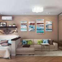 вариант необычного интерьера спальни 20 метров картинка