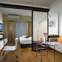 пример красивого стиля гостиной спальни 20 метров фото