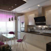 пример красивого стиля потолка кухни картинка