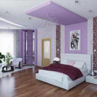идея необычного оформления стиля стен в спальне фото
