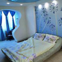 пример светлого проекта дизайна спальной комнаты фото